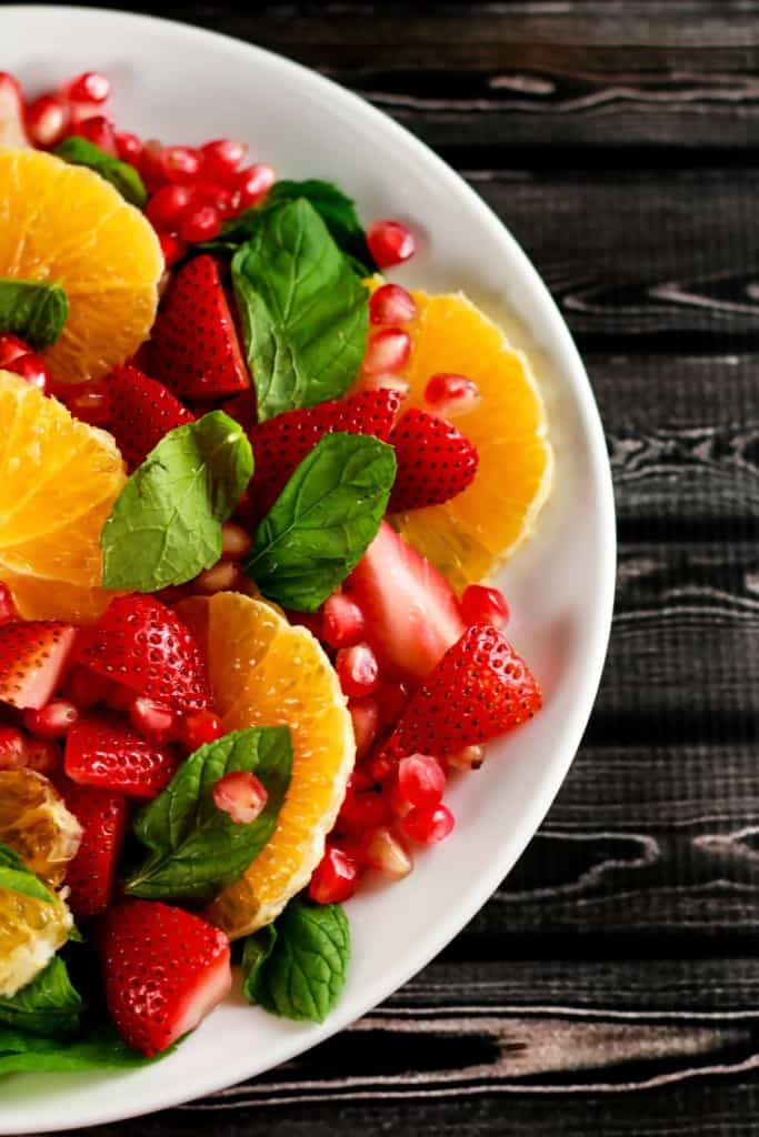 Healthy Orange Pomegranate Salad - This no-cook salad is not only beautiful to look at but delicious as well! It's the perfect summer salad and looks so instagram-able! Have it ready in under 10 mins!! | ScrambledChefs.com