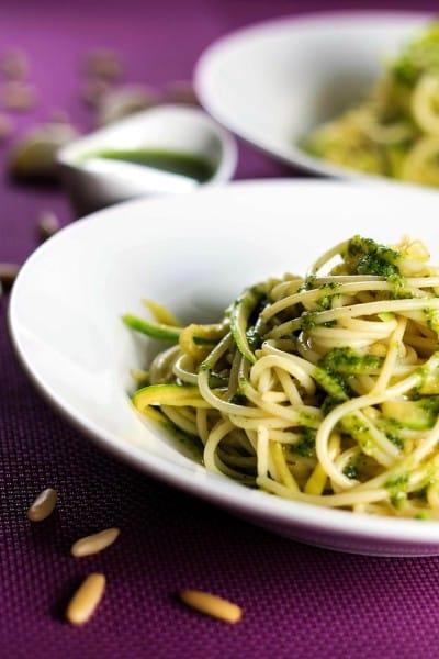Zucchini Spaghetti with Pesto Sauce