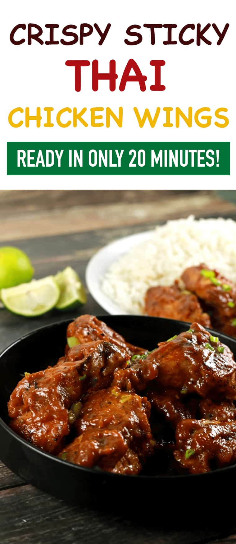 Crispy Sticky Thai Chicken Wings - These Thai chicken wings have a crispy outside coated with this spicy and delicious sticky sauce! It's so delicious that you'll be left licking your fingers in the end!! We absolutely LOVE it!  ScrambledChefs.com